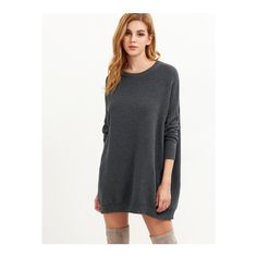 SheIn(sheinside) Grey Ribbed Knit Drop Shoulder Oversized Sweater ($25) ❤ liked on Polyvore featuring tops, sweaters, grey, long sleeve sweater, gray sweaters, grey pullover, long sleeve tops and round neck sweater