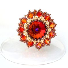 Hey, I found this really awesome Etsy listing at https://www.etsy.com/listing/178907498/beaded-ring-swarovski-ring-swarovski