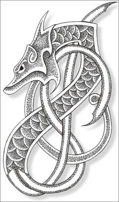 Nordic dragon arm tattoo idea