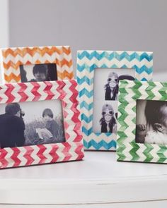 """Chevron Picture Frame- garnethill.com  The chic chevron motif packs a graphic punch in this artfully inlaid frame that combines fresh colors with a touch of the exotic. Great as a solo statement or grouped in all four shades — and a picture-perfect gift too, for mothers, grads, sisters, yourself. Bone/wood. Imported.  Size: 8 1/2"""" H x 6 1/2"""" W (holds a 4"""" x 6"""" photo)"""