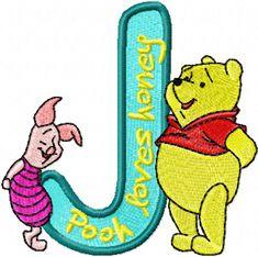 Pooh Piglet alphabet letter j machine embroidery design Pooh Bear, Tigger, Eeyore, Winnie The Pooh, Photo Stitch, Flower Alphabet, Letter J, Alphabet Letters, Alphabet Design