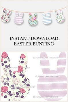 A floral bunny garland in lovely pastel colours to decorate your Easter Event! Hang along tables, wall or entryway for a colourful addition to your party decor. #easter #banner #bunting #printable #ad