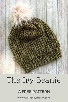 Learn how to crochet this textured puff stitch hat with my free pattern tutorial. Crochet for Beginners Crochet Adult Hat, Crochet Beanie Pattern, Free Crochet Hat Patterns, Beginner Crochet Hat, Crochet Toddler Hat, Free Pattern, Crochet Slouchy Hat, Crochet Baby, Sewing Patterns