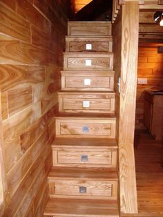 Turn the stairs into drawers! Tiny House Interior Finish Stairs with Drawers. Great idea if you're building a standalone tiny house. Not so much for a portable tiny house. Tiny House Stairs, Tiny House Living, House Staircase, Staircase Ideas, Spiral Staircase, Small Living, Living Room, Stair Drawers, Storage Stairs