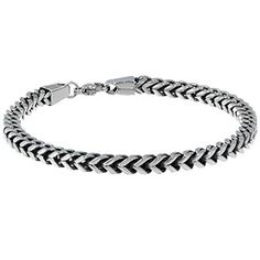 Mens Steel Jewelry - Men's Stainless Steel 5MM Foxtail Link Chain Bracelet Available Exclusively at Gemologica.com