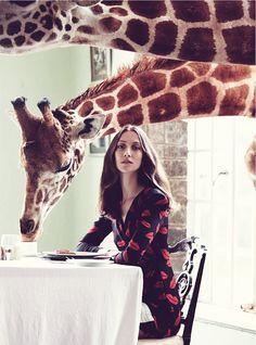 Alana Zimmer at the Giraffe Manor in Nairobi, Kenya. Photography by Liz Collins for Uk Harper's Bazaar