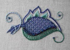 Miniature Crewelwork Motif Embroidery Kit by VineEmbroidery