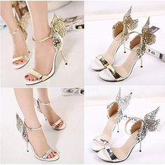 c6a65d47ee51 LANDFOX High Heels Sandalen Einzelne Schuhe Volltonfarbe Metall Flügel  Stiletto Offene Spitze