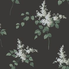 Lilacs White and Black wallpaper by Boråstapeter