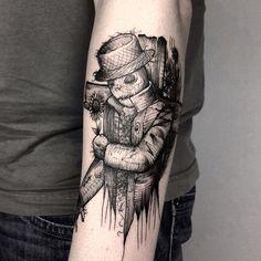 Tatuagem Criada por Rui Tattooer de Curitiba. Homem de palha em blackwork.