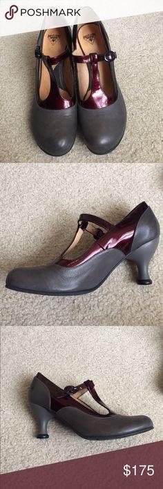 John Fluevog Laura Evans Beautiful Laura Evans t strap heels. Grey body with bordeaux trim. Comfortable heel. Worn once. Beautiful condition! Fits true to size. John Fluevog Shoes Heels