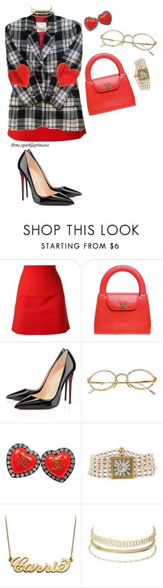 """""""COMPLETELY❤️CLUELESS"""" by mssparkleprincess ❤ liked on Polyvore featuring Christopher Kane, Chanel, Christian Louboutin, Moschino, My Name Necklace and Charlotte Russe"""