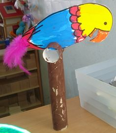 Parrot on a perch Kids Crafts, Craft Activities For Kids, Preschool Crafts, Projects For Kids, Craft Projects, Arts And Crafts, Frog Theme, Bird Theme, Pirate Day