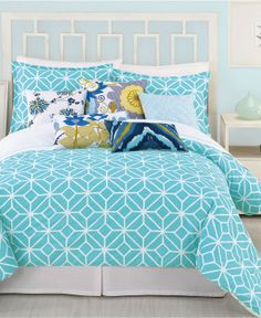 Trina Turk Bedding, Trellis Turquoise Comforter and Duvet Cover Sets - Bedding Collections - Bed & Bath - Macy's Bridal and Wedding Registry