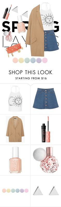 """spring"" by oonnrui ❤ liked on Polyvore featuring Monki, MANGO, Benefit, Essie, Deborah Lippmann, Jennifer Meyer Jewelry and Emily & Ashley"