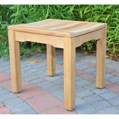 20 Natural Rosemont Teak Outdoor Patio Dining Backless Wooden Bench Stool, Brown, Patio Furniture