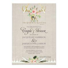 Couples Shower BOHO Feathers Deer Antler Roses Art Card