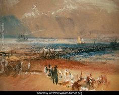 Boats at Margate Pier by J. Turner Art Print on Canvas Magnolia Box Size: Extra Large Painting Frames, Painting Prints, Turner Watercolors, Framed Art Prints, Canvas Prints, Turner Painting, Joseph Mallord William Turner, Leonid Afremov Paintings, Oil Paintings