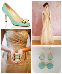 1000 images about wedding maid of honor attire on for Mint and gold wedding dress