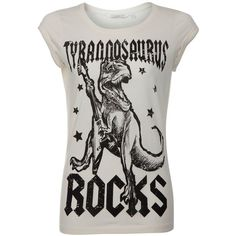 White Tyrannosaurus Rocks T-Shirt ($6.23) via Polyvore