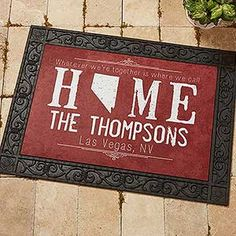 LOVE this personalized doormat! It comes in a bunch of different colors and you can choose any state and add any line of text to the top and the 2 lines at the bottom! Such a great housewarming gift idea!