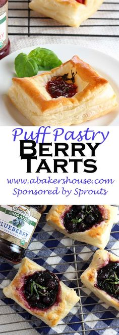 A puff pastry base serves as the canvas for theseBerry Tarts which highlight Sprouts Organic Preserves and fresh berries from their produce department. The preservesoffer a variety of options: strawberry, blueberry and apricot. Made by Holly Baker at www.abakershouse.com Sponsored by Sprouts