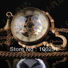 Steampunk Glass Ball Mechanical Pendant Pocket Old Watch Fob20PCS/LOT MIXED STYLE OPTION FREE SHIPPING $199.55