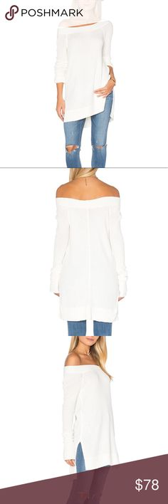 "Free People Kate Thermal NWOT XS Free People ""Kate"" waffle drippy off the shoulder thermal super soft. Color Ivory Size XS   NWOT Free People Tops"