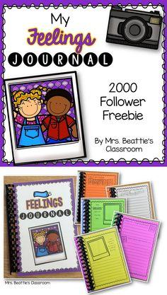 Mrs. Beattie's Classroom is celebrating 2000 Teachers Pay Teachers followers with this fun FREEBIE - a Feelings Journal for Kids! Enjoy!