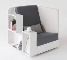 great stand alone reding chair with integrated bookshelf and magazine hangers. Only a nice lamp is missing!