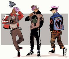 Pink haired bois !!!!!  #art #characterdesign !!! Lowkey would rock that satan jacket!!!! — by munadraws