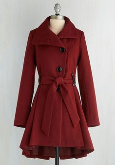 Winterberry Tart Coat in Burgundy. Walking up the path to your familys country home, you catch the rich aroma of treats as warm as your scarletSteve Maddencoat. #red #modcloth