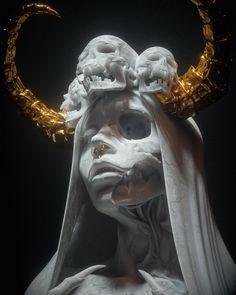 Dark Fantasy Art, Dark Art, Arte Obscura, Horror Art, Skull Art, Aesthetic Art, Sculpture Art, Art Inspo, Art Reference