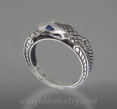 OUROBOROS silver mens Snake ring with Blue Sapphire by WingedLion