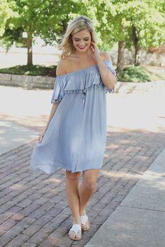 Dusty Blue Off the Shoulder Tassel Trim Flounce Layer Dress