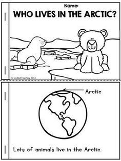 Who Lives in the Arctic? Free Emergent Reader- Who Lives in the Arctic? Kindergarten Science, Preschool Lessons, Kindergarten Reading, Animal Activities, Classroom Activities, Winter Activities, Polar Animals Preschool Crafts, Preschool Winter, Preschool Themes