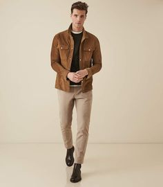 At REISS you will find the best mens fashion clothing. We have lots of popular styles available for the modern man. Stylish Mens Outfits, Casual Outfits, Men Casual, Fashion Outfits, Fashion Boots, Leather Men, Leather Jacket, Suede Jacket, Best Mens Fashion