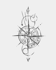 Forearm Band Tattoos, Arrow Tattoos, Star Tattoos, New Tattoos, Tattoos For Guys, Compass Drawing, Compass Tattoo Design, Unique Tattoos, Cute Tattoos