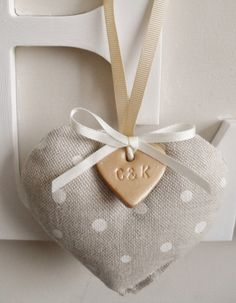 SALE 10 Wedding Favours Fabric and Clay Heart by RubiesandGold, £42.00