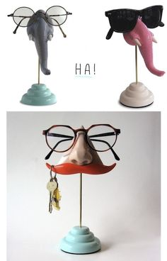 funny glasses & keys storage. I totally want to get these for my hubby!