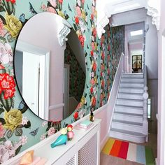 So busy today but good thing the sun is shining and the colours in my hallway is bringing a smile to my face. Victorian Hallway, Victorian Terrace House, Hallway Mirror, Hallway Walls, Wall Colors, Colours, Dado Rail, Brown Wallpaper, House Doctor