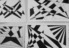 La linea recta y diagonal, sus posibilidades. Trabajos realizados por alumnos de la escuela Media pública de la ciudad de Neuquén.