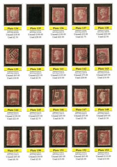 1d PENNY RED Stamps Scott 33 SG43 GB QUEEN VICTORIA Set of 19 plates 134 to 153 £10.45 +£ 1.88 postage