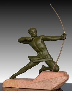 "Max Leverrier sculpture of an Archer. Circa 1930. 10"" high. 9"" width."