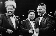 Don King joking with Mike Tyson and Muhammad Ali prior to Saturday night fight card.