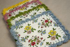 coasters with crocheted edge by Erin @ Why Not Sew? Quilts, via Flickr