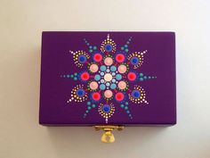Regalo de arte-verano-púrpura OOAK mandala 3D dot bajo 50-madera joyería almacenamiento stash caja-mano pintado madera abalorio caja-puntillismo-yoga arte-neon