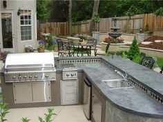 Redesigning Your Kitchen Area: Choosing Your New Kitchen Counter Tops – Outdoor Kitchen Designs Outdoor Kitchen Sink, Outdoor Kitchen Countertops, Outdoor Kitchen Design, Granite Kitchen, Concrete Countertops, Outdoor Kitchens, Kitchen Appliances, Granite Bay, Outdoor Spaces