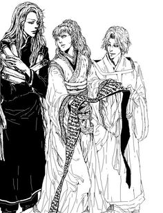 Youko, Rakushun, and Keiki from The Twelve Kingdoms. Kei is in excellent hands!