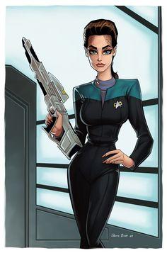 Lt Cmdr Jadzia Dax from Star Trek- Deep Space Nine colored in Painter/Photoshop Jadzia Dax Watch Star Trek, Star Trek Tv, Star Wars, Star Trek Characters, Female Characters, Science Fiction, Terry Farrell, Starfleet Academy, Starship Enterprise